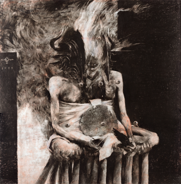 M L K (Moloch) Tempera, blood, charcoal and graphite on paper 50 x 50cm 2011