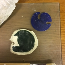 Cut and filed wax shapes with latex moulds