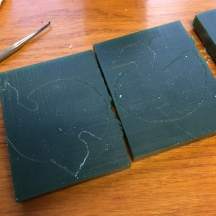 Waxes with markings ready to cut out